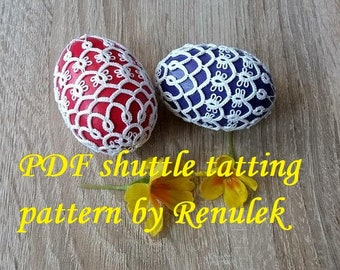 "Egg 3D no.2"" PDF Original Shuttle Tatting Pattern by Renulek. Instant Digital Download. Tatting yourself gift. schemat frywolitki"