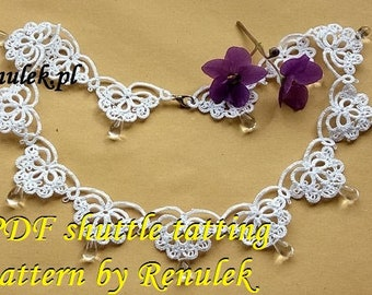 "Necklace DORIS"" PDF Original Shuttle Tatting Pattern by Renulek Instant Digital Download. Tatting yourself gift. schemat frywolitki"