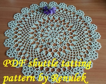 napkin DIANA. PDF Original Shuttle Tatting Pattern by Renulek Instant Digital Download. Tatting yourself gift. lace napkin.
