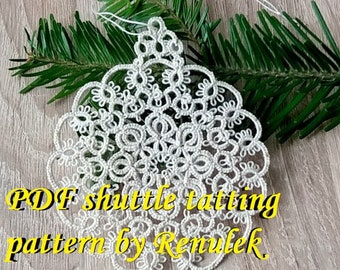 Xmas Bubble1. PDF Original Shuttle Tatting Pattern. Instant Digital Download. Tatting yourself xmas gift. schemat frywolitki czółenkowej.