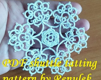 snowflake VERONICA. PDF Original Shuttle Tatting Pattern by Renulek Instant Digital Download. Tatting yourself gift. schemat frywolitki
