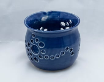 pottery, handmade pottery, handmade, candle holder, pottery candle holder, blue pottery, blue candle holder, blue pottery candle holder