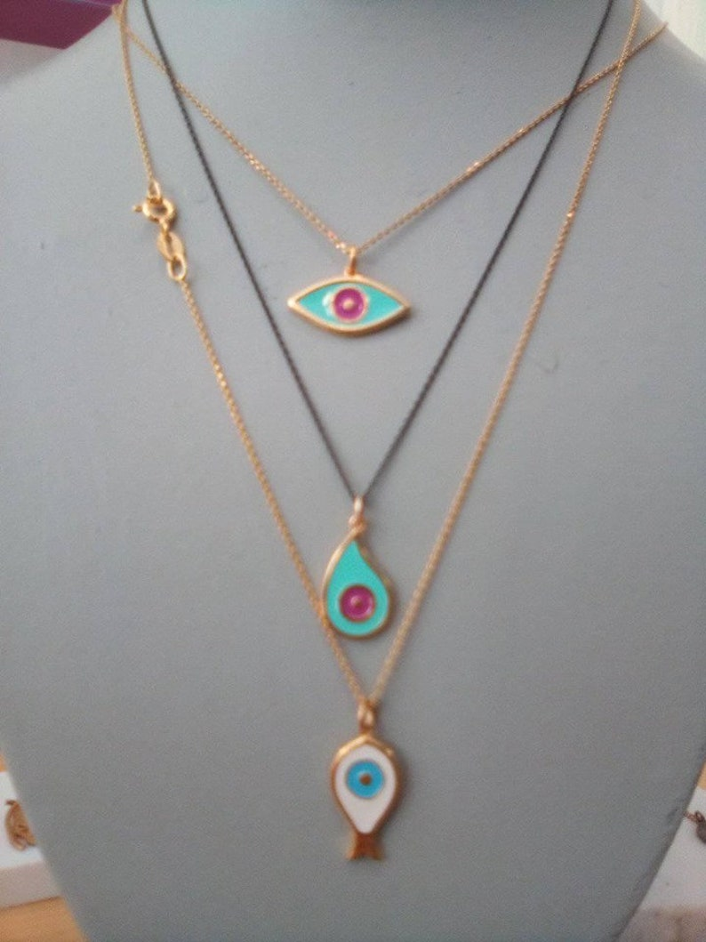 Cute Summer Sterling Silver and Enamel Evil Eye Necklaces.Yellow Gold Plated Silver Pendant .Good Luck and Protection Jewelry.Summer Gift