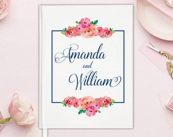 Floral Wedding Guest Book Floral Guestbook Unique - Guest Book Wedding Floral - Guest Book Unique Wedding Guest Book Elegant - 12 COLORS