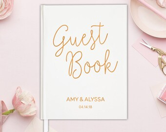 Guest Book Wedding Rose Gold Guestbook - Unique Guest Book Ideas for Wedding Guest Book Landscape - Wedding Guest Book Modern - 15 COLORS