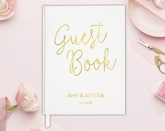 Wedding Guest Book Gold Wedding Guest Book Unlined - Wedding Guest Book Ideas - Gold Guestbook Wedding Guest Book Hardcover -  15 COLORS