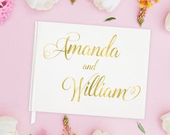 Wedding Guest Book Gold Foil Wedding Guest Book Personalized, Gold Guest Book Wedding Guest Book Ideas for Wedding, 15 COLOR CHOICES