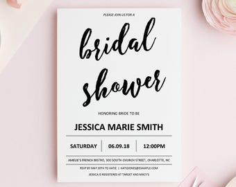 Bridal Shower Invitation Instant Download, Modern Bridal Shower Invitation Template, Minimalist Bridal Shower Invitation Printable, DOWNLOAD