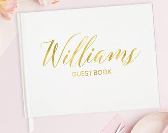 Unique Wedding Guest Book Personalized Wedding Guest Book Elegant - Wedding Guest Book Gold Foil Wedding Guest Book No Lines - 15 COLORS