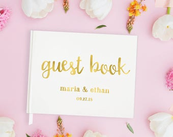 Gold Foil Wedding Guest Book Gold Foil Guestbook Wedding, Wedding Guest Book Foil Guest Book Wedding Personalized, Gold Guest Book Wedding