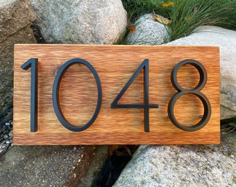 House Number Sign - modern, rustic, custom, personalized, house numbers, address sign, wood, metal, housewarming gift, Modern, Curb Appeal