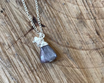 Chocolate Moonstone Cluster Necklace