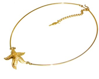 Star Fish Necklace, Gold Wire Collar Neckcuff, Sea Star Sarah Coventry- item Y16