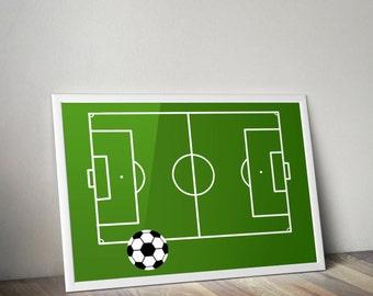 Soccer Field And A Ball Print Boys Room Nursery Printable Sport Poster Baby Decor Football Art Digital