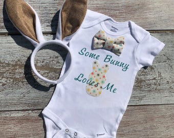 First Easter outfit baby boy, First Easter, Some Bunny Loves Me, EASTER Outfit, Easter bunny onesie set