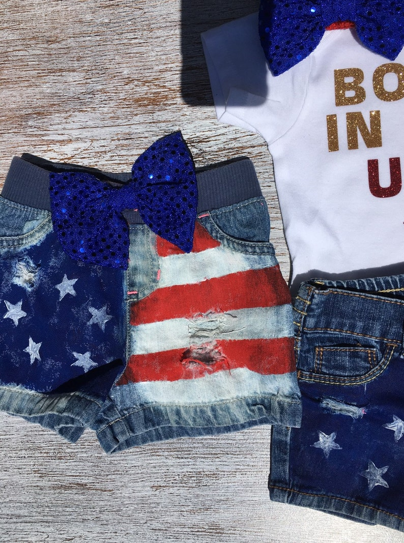 4th of July Outfit, Baby Girl/'s Rockin/' Jean Denim Shorts Born In The USA Patriotic Baby Girl Baby distressed denim shorts