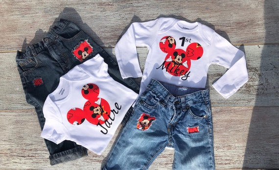 Mickey Mouse 1st Birthday Outfit.Mickey Mouse First Birthday Outfit Mickey Mouse Onesie Mickey Mouse Distressed Blue Jeans Mickey Mouse Baby Boys First Mickey Outfit