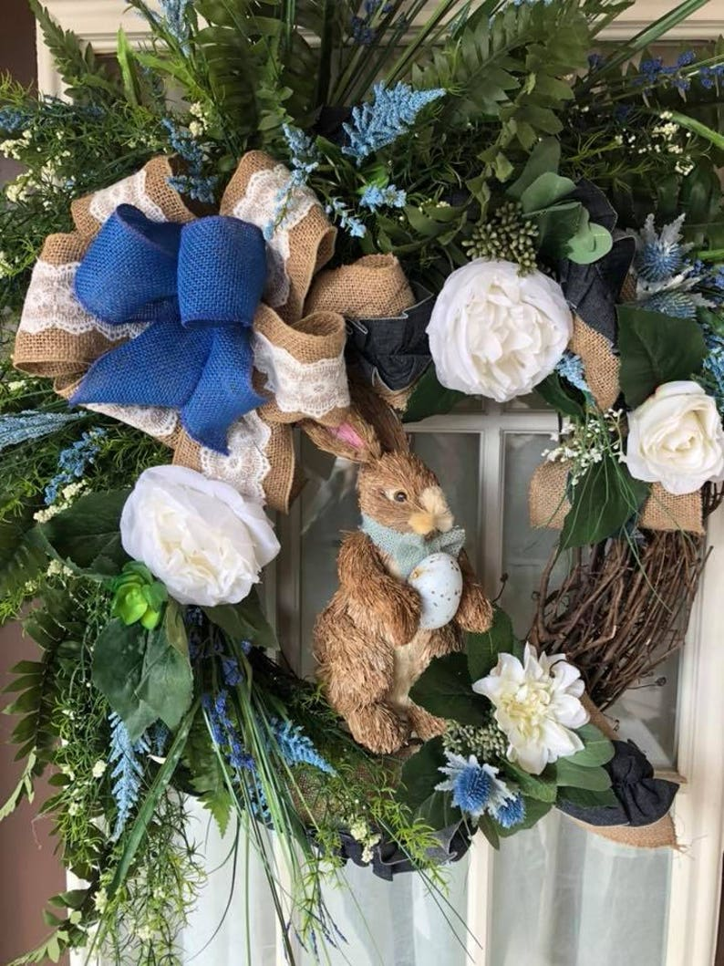 """New 25/"""" Sisal Easter Bunny Head Wall Hanging Wreath Supplies Decor Decorations"""
