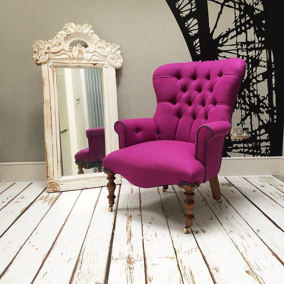 Enjoyable Marlene Pink Wool Upholstered Lounge Chair Abraham Moon Fabric Ocoug Best Dining Table And Chair Ideas Images Ocougorg