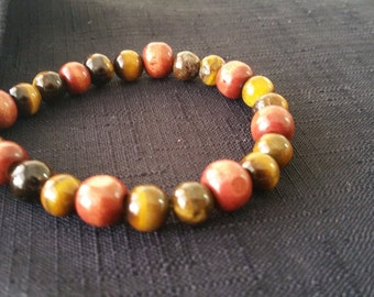 """Beautiful multi beaded Tigers Eye Bracelet. Made in a 6.50"""" length for a 3.25"""" wrist. Will adjust if necessary."""