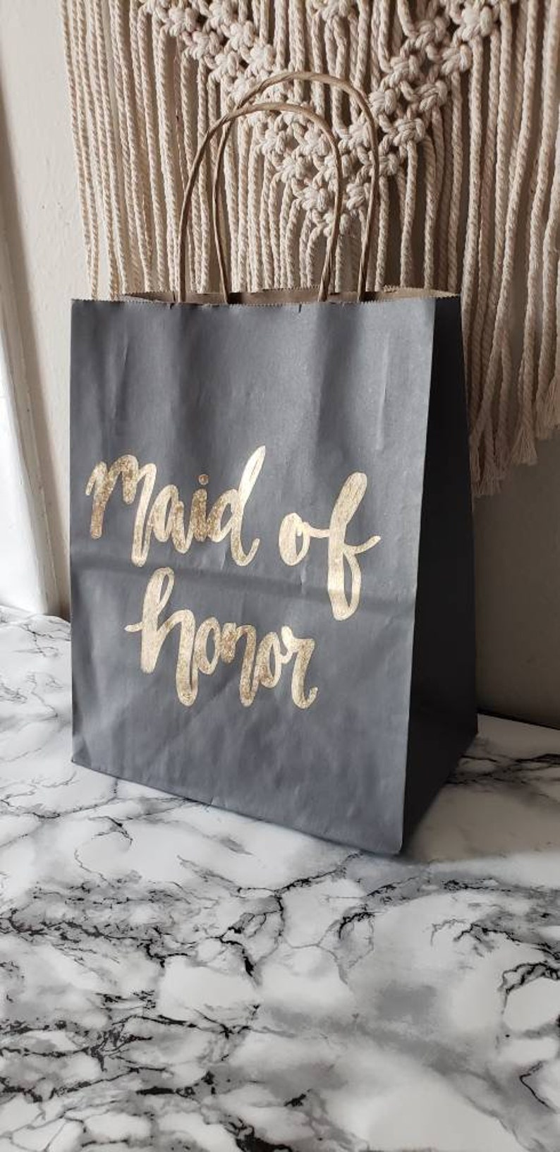 Medium Gift Bag Custom Gift Bags Calligraphy Gift Bag Bridesmaid Gift Bag Handlettered Gift Bag Grey Gift Bag Wedding Party Gift