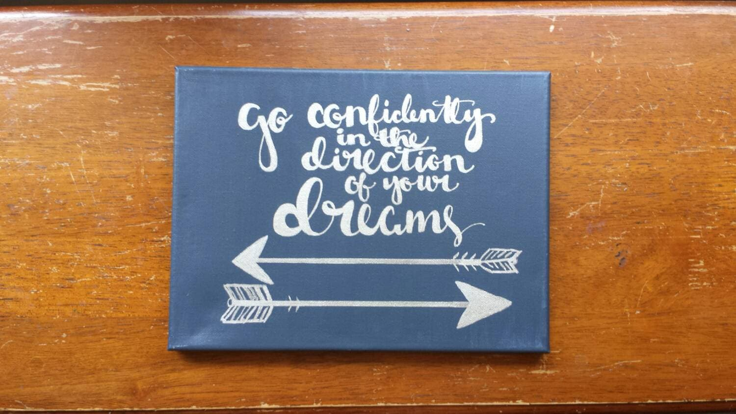 Go Confidently In The Direction Of Your Dreams Navy And Silver Etsy