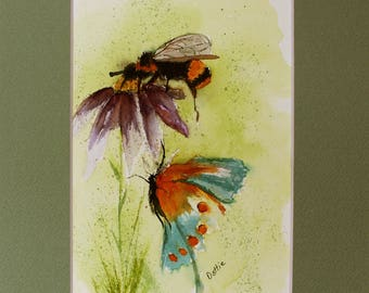 Bee, Butterfly and Cone Flower