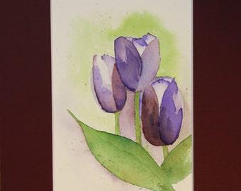 Purple Tulips, Original Watercolor Painting
