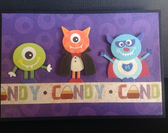 Handmade Halloween Card - Trick or Treat design - Little Monsters