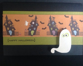Handmade Halloween Card - Trick or Treat design - Boo
