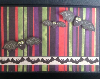 Handmade Halloween Card - Trick or Treat design - Bats