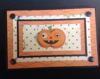 Handmade Halloween Card - Trick or Treat design - Pumpkin Patch