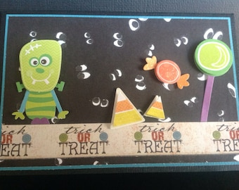 Handmade Halloween Card - Trick or Treat design - Trick or Treat