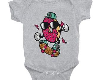 Donut Skater Skateboard Fun Hip Infant Bodysuit Onesie