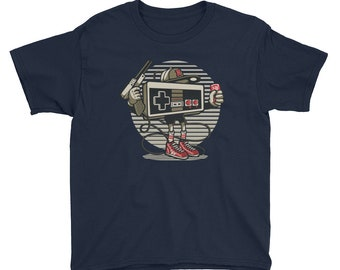 Lets Play Player One Nintendo Controller Modern Design Youth Short Sleeve T-Shirt