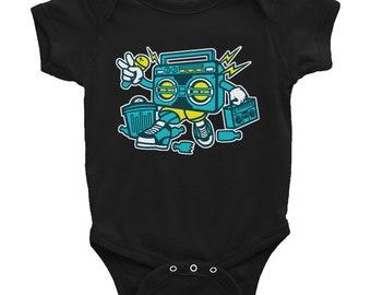 DJ Radio Boombox Graphic Fun Hip Infant Bodysuit Onesie