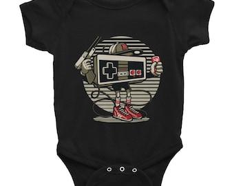 Lets Play Player One Nintendo Controller Modern Design Infant Bodysuit Onesie