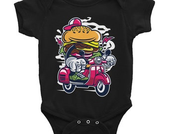 Burger Scooter Graphic Fun Hip Infant Bodysuit Onesie