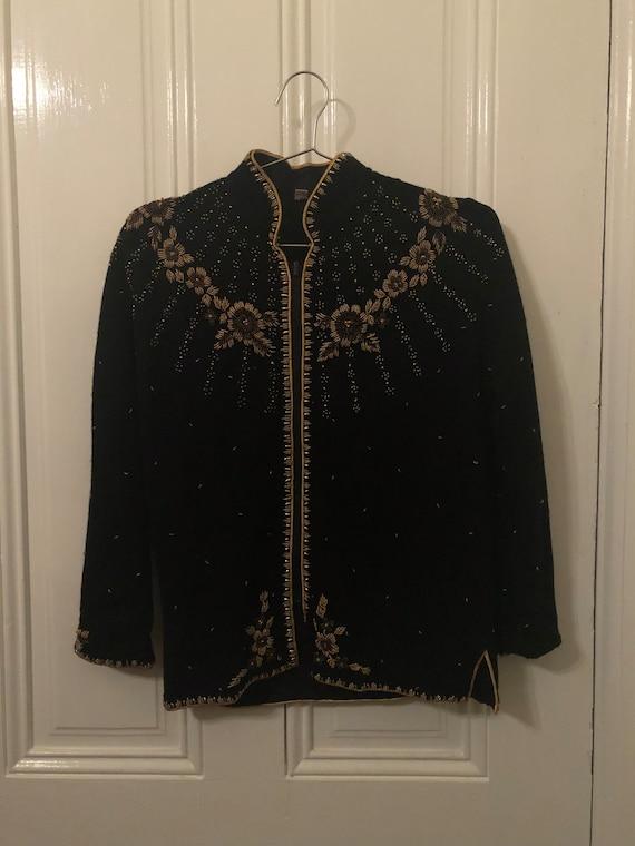 C. 1980s Cashmere Sequined Cardigan