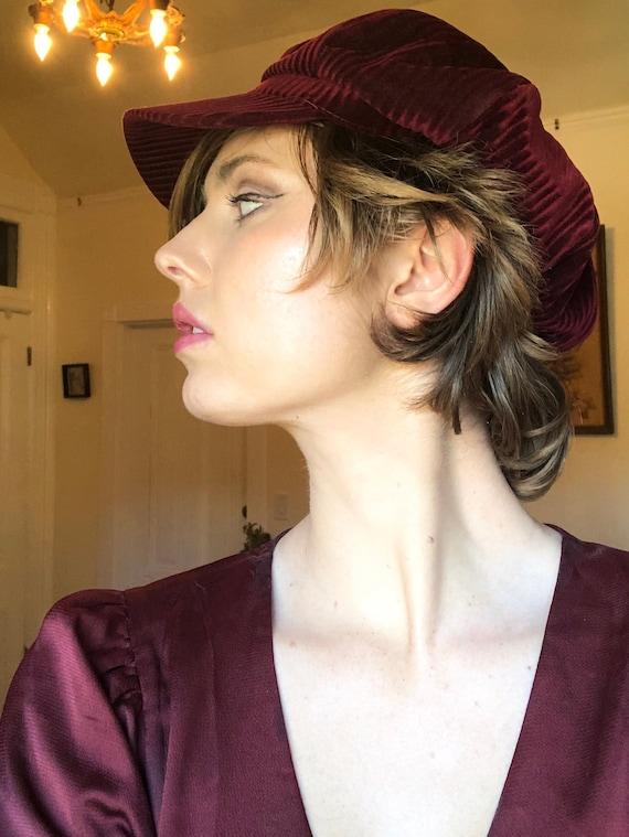 C. 1970s Striped Scarlet Red Cap | velvet hat