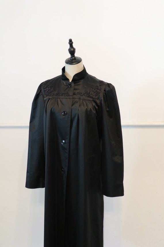 70s Raincoat | 1970s raincoat black jacket jet bla
