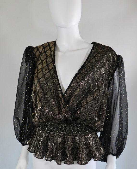 SALE | 1980s Sheer Plunging Neckline Long Sleeve B