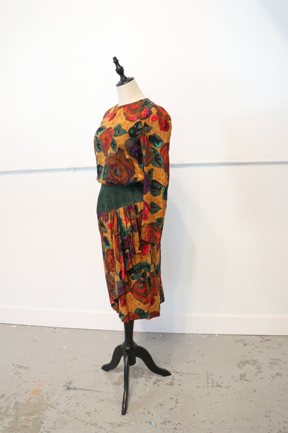 SALE | 80s Silk Leather Dress | 1980s silk 80s dre