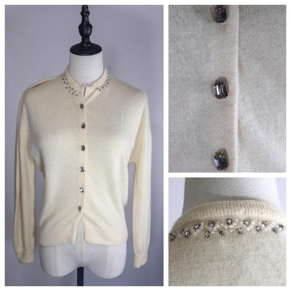 SALE | Cashmere 1950s Glass Button Sweater | vinta