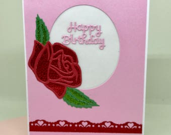 Red Rose Birthday Card Girl Gift Pink Cards Happy Handmade