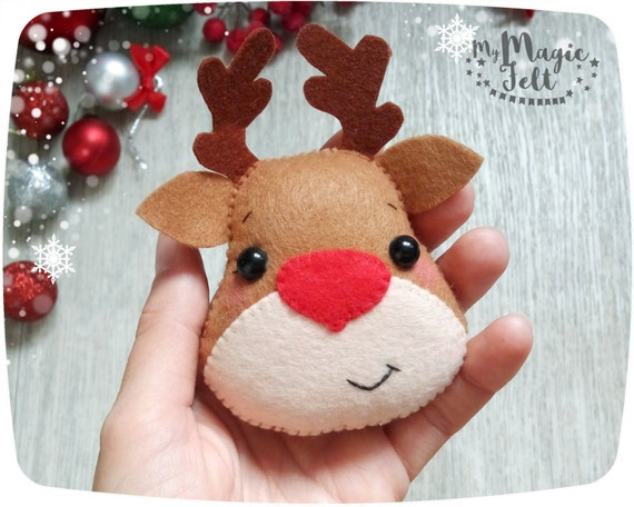 Rudolph Christmas Decorations.Christmas Ornaments Felt Rudolph Reindeer Ornament Christmas Felt Ornaments The Red Nose Reindeer Ornament Christmas Tree Decorations