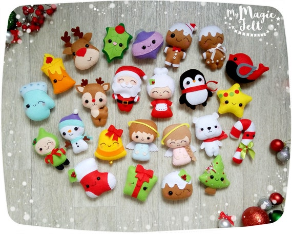 Christmas ornaments felt ornament Christmas felt Decor Big set cute  Christmas favors Christmas tree ornaments Gift for Christmas - Christmas Ornaments Felt Ornament Christmas Felt Decor Big Set Etsy