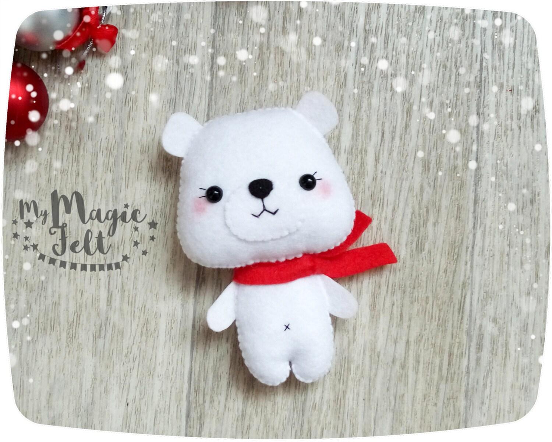 Adornos navideños fieltro Oso Polar ornamento regalos de | Etsy