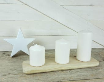 Wooden stand candle holder - large