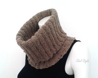Snood, Collar Scarf, Tube Scarf, Brown speckled, Women's fall-winter accessories , gift idea for her.